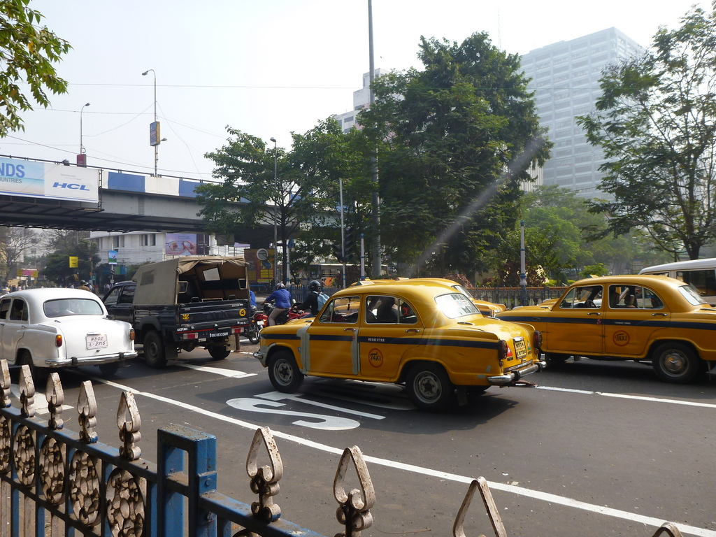 Hindustan Ambassador Taxis are common in Kolkata